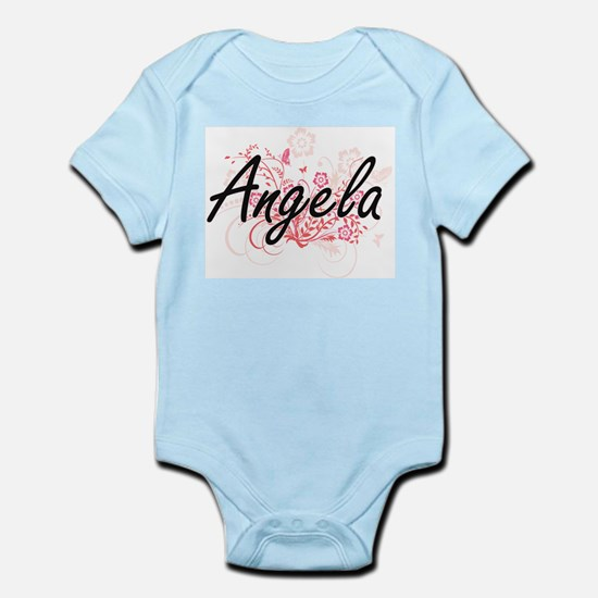 Angela Artistic Name Design with Flowers Body Suit