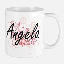 Angela Artistic Name Design with Flowers Mugs