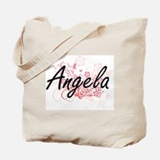 Angela Artistic Name Design with Flowers Tote Bag
