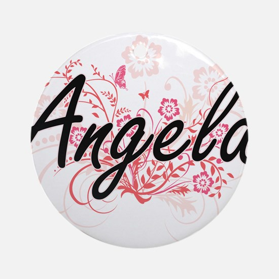 Angela Artistic Name Design with Fl Round Ornament