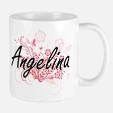 Angelina Artistic Name Design with Flowers Mugs