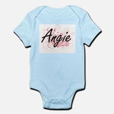 Angie Artistic Name Design with Flowers Body Suit