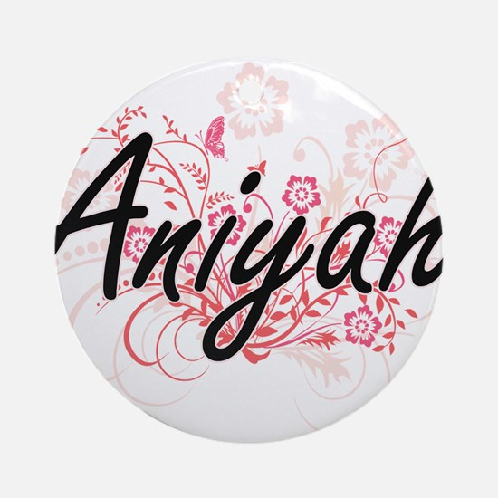 Aniyah Artistic Name Design with Fl Round Ornament