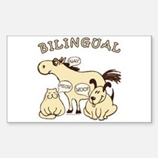 Bilingual, horse, cat, dog. Rectangle Decal