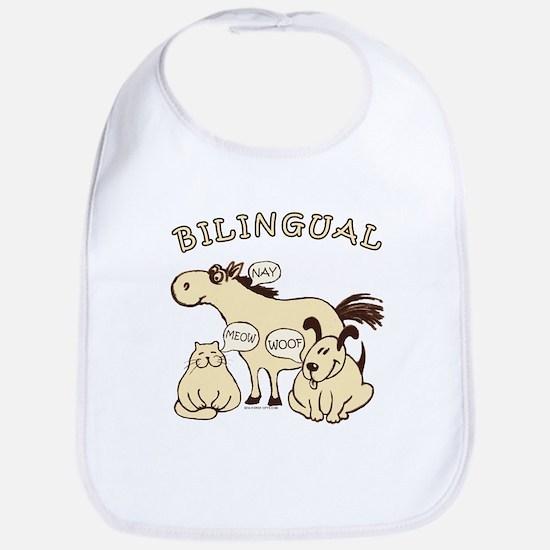 Bilingual, horse, cat, dog. Bib