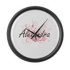 Alexandra Artistic Name Design wi Large Wall Clock