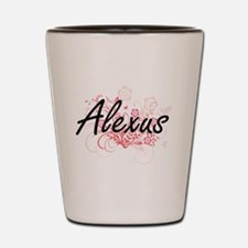Alexus Artistic Name Design with Flower Shot Glass