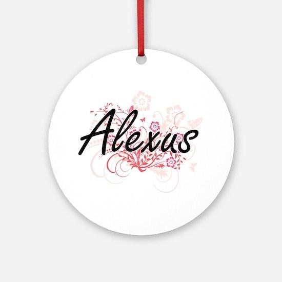 Alexus Artistic Name Design with Fl Round Ornament