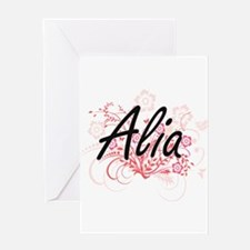 Alia Artistic Name Design with Flow Greeting Cards