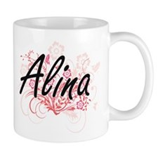 Alina Artistic Name Design with Flowers Mugs