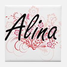 Alina Artistic Name Design with Flowe Tile Coaster