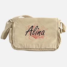 Alina Artistic Name Design with Flow Messenger Bag