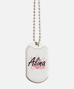 Alina Artistic Name Design with Flowers Dog Tags