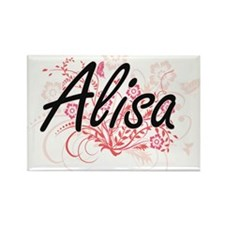 Alisa Artistic Name Design with Flowers Magnets