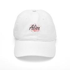 Alisa Artistic Name Design with Flowers Baseball Cap