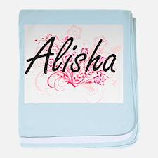 Alisha Artistic Name Design with Flow baby blanket