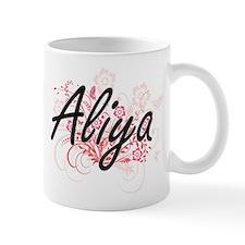 Aliya Artistic Name Design with Flowers Mugs