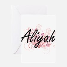 Aliyah Artistic Name Design with Fl Greeting Cards