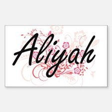 Aliyah Artistic Name Design with Flowers Decal