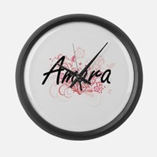 Amara Artistic Name Design with F Large Wall Clock
