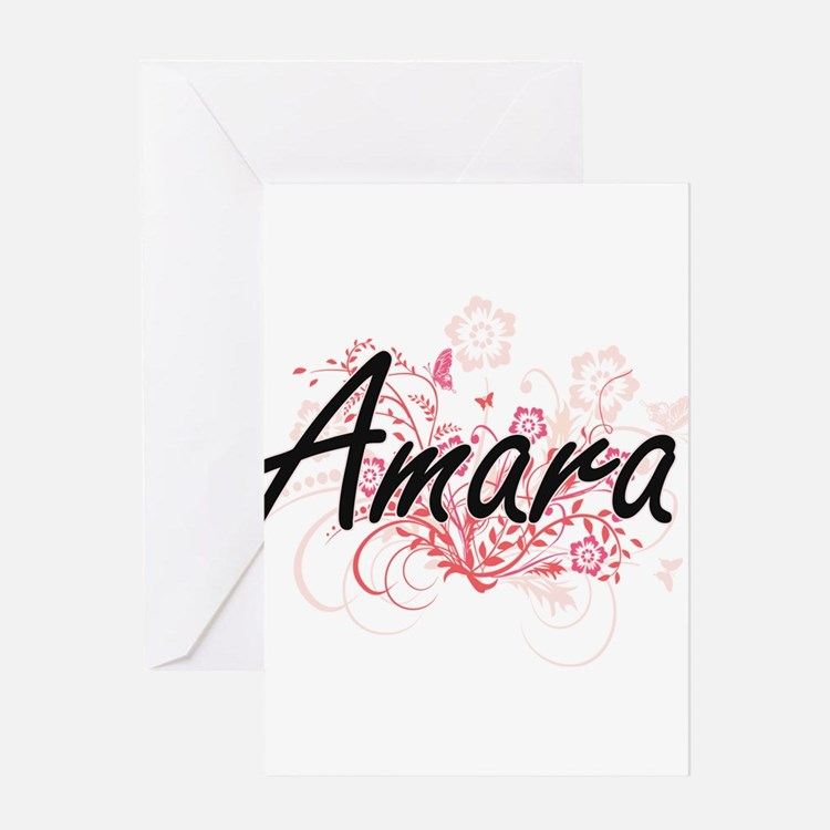 Amara Artistic Name Design with Flo Greeting Cards