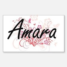 Amara Artistic Name Design with Flowers Decal