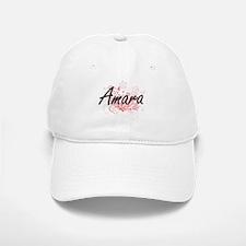 Amara Artistic Name Design with Flowers Baseball Baseball Cap