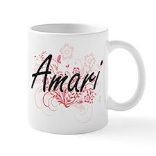 Amari Artistic Name Design with Flowers Mugs