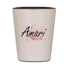 Amari Artistic Name Design with Flowers Shot Glass