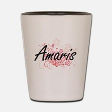 Amaris Artistic Name Design with Flower Shot Glass