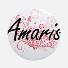 Amaris Artistic Name Design with Fl Round Ornament