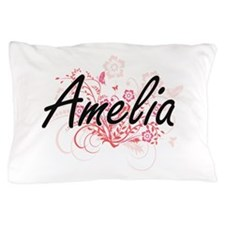 Amelia Artistic Name Design with Flowe Pillow Case