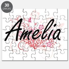 Amelia Artistic Name Design with Flowers Puzzle
