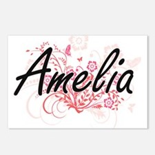 Amelia Artistic Name Desi Postcards (Package of 8)