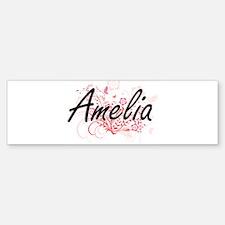 Amelia Artistic Name Design with Fl Bumper Bumper Bumper Sticker