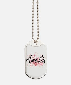Amelia Artistic Name Design with Flowers Dog Tags