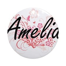 Amelia Artistic Name Design with Fl Round Ornament