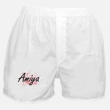 Amiya Artistic Name Design with Flowe Boxer Shorts