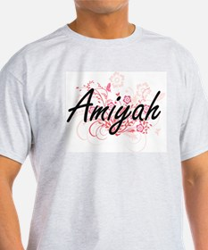 Amiyah Artistic Name Design with Flowers T-Shirt