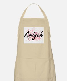 Amiyah Artistic Name Design with Flowers Apron