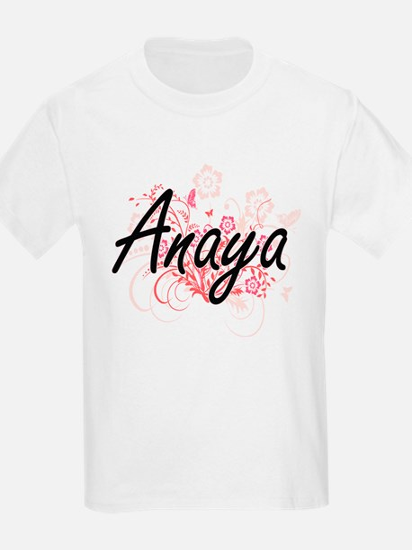 Anaya Artistic Name Design with Flowers T-Shirt