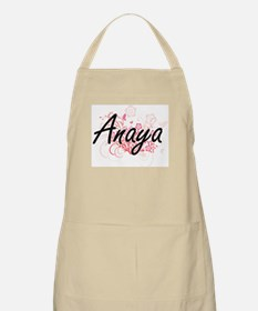 Anaya Artistic Name Design with Flowers Apron