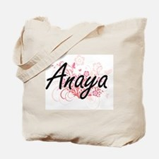 Anaya Artistic Name Design with Flowers Tote Bag