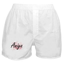 Aniya Artistic Name Design with Flowe Boxer Shorts