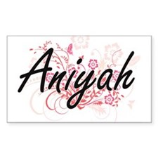 Aniyah Artistic Name Design with Flowers Decal
