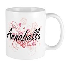 Annabella Artistic Name Design with Flowers Mugs