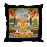 Krishna On Lotus Blossom Throw Pillow