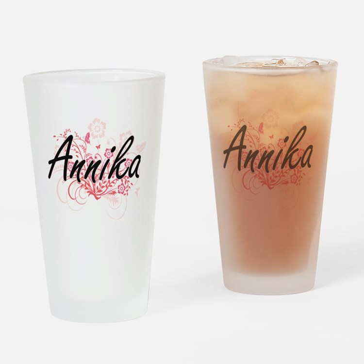 Annika Artistic Name Design with Fl Drinking Glass