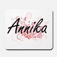 Annika Artistic Name Design with Flowers Mousepad