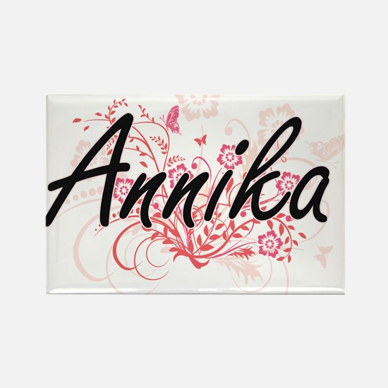 Annika Artistic Name Design with Flowers Magnets